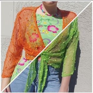 Orange and green net jackets 90s vintage